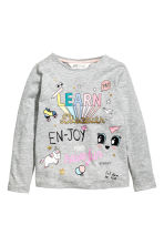 Printed jersey top - Grey marl - Kids | H&M 1