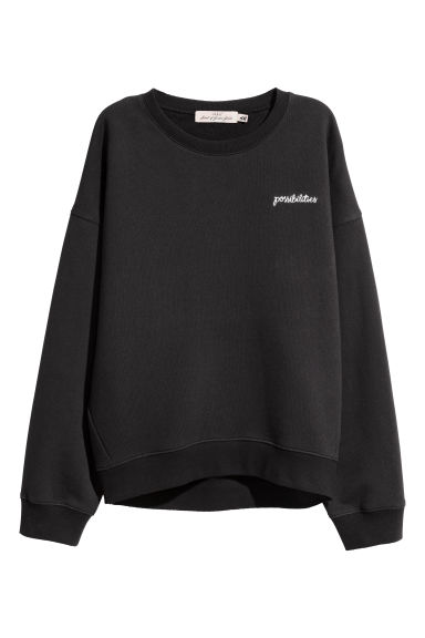Embroidered sweatshirt - Black/Possibilities - Ladies | H&M