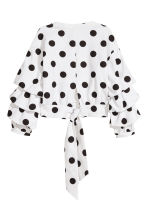 後綁帶上衣 - White/Black spotted - Ladies | H&M 3