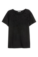 Top with appliqués - Black/Floral - Ladies | H&M 1
