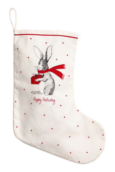 Christmas stocking - Natural white/Hare - Home All | H&M CN