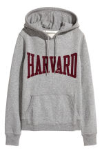 Printed hooded top - Grey/Harvard - Ladies | H&M 2