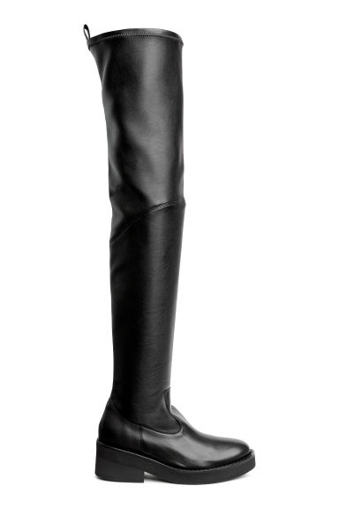 Leather over-the-knee boots - Black - Ladies | H&M CN 1