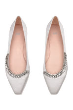 Embellished ballet pumps - Light grey - Ladies | H&M 2