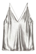 Shimmering metallic top - Silver-coloured - Ladies | H&M CN 2