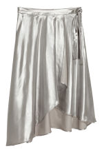 Shimmering metallic wrap skirt - Silver-coloured - Ladies | H&M 2