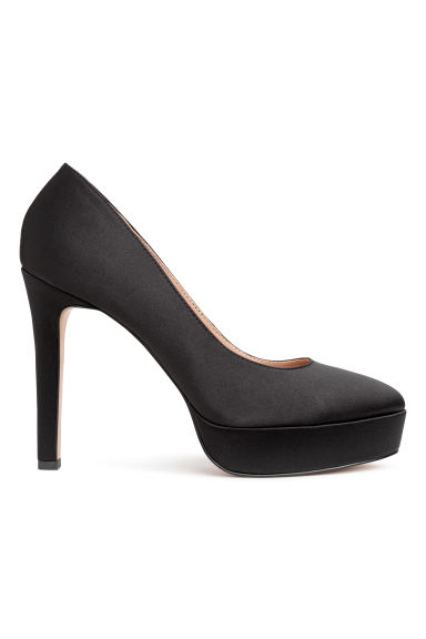 Satin platform court shoes - Black - Ladies | H&M