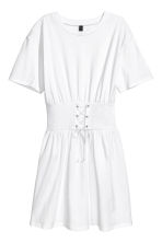 T-shirt dress with lacing - White - Ladies | H&M CN 2