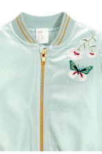 Velvet bomber jacket - Light turquoise - Kids | H&M 2
