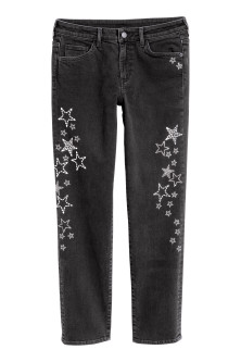 Slim Regular Jeans avec strass