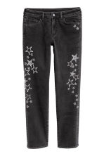 Decorated Slim Regular Jeans  - Nearly black/Stars - Ladies | H&M 2