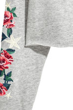 Cropped hooded top - Light grey/Flowers - Ladies | H&M 3