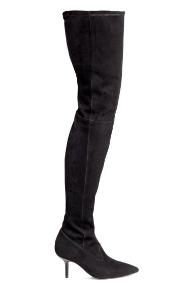 Suede thigh boots - Black - Ladies | H&M CN