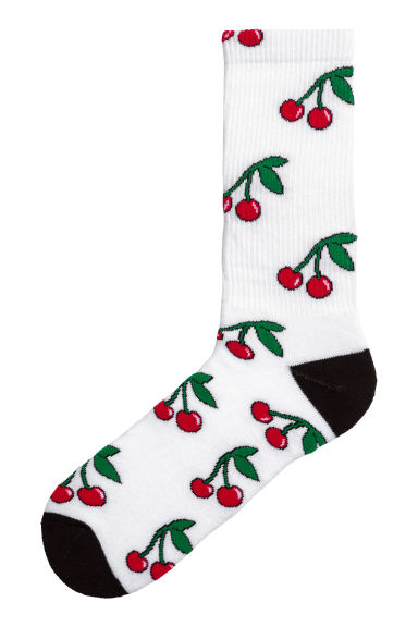 Socks with a motif - White/Cherry - Men | H&M 1