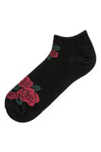 Jacquard-knit Ankle Socks - Black/roses - Men | H&M CA 1