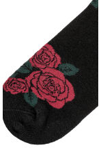 Jacquard-knit Ankle Socks - Black/roses - Men | H&M CA 2