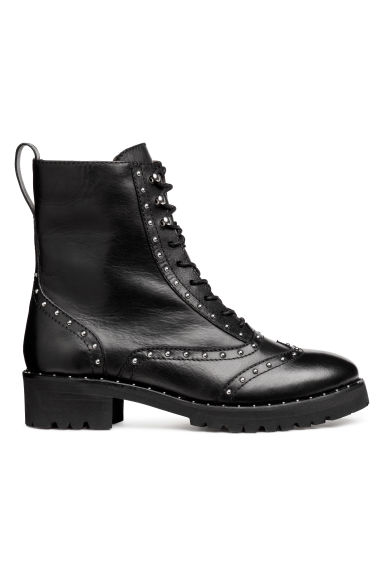 Leather boots with studs - Black - Ladies | H&M IE 1