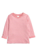 Long-sleeved cotton top - Light pink/Striped -  | H&M CN 1