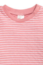 Long-sleeved cotton top - Light pink/Striped -  | H&M CN 2