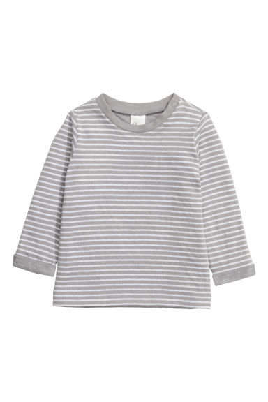 Long-sleeved cotton top - Grey/Striped - Kids | H&M