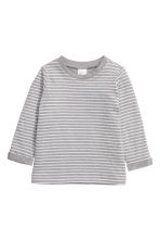 Long-sleeved cotton top - Grey/Striped - Kids | H&M 1