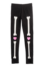 Jersey leggings - Black/Skeleton - Kids | H&M 2