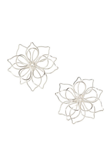 Flower-shaped Earrings - Silver-colored - Ladies | H&M CA 1