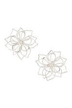 Flower-shaped earrings - Silver-coloured - Ladies | H&M 1