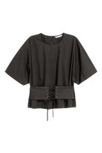 Cotton corset blouse - Black - Ladies | H&M 2