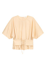 Cotton corset blouse - Light beige - Ladies | H&M 2