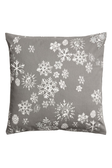 Christmas-print cushion cover - Grey/Snowflakes -  | H&M IE