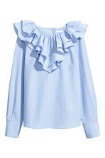 Blouse with a frilled collar - Blue/White/Striped - Ladies | H&M 2