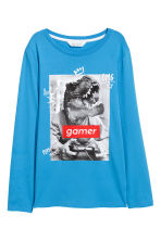 Printed jersey top - Blue/Dinosaur -  | H&M 2