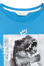 Printed jersey top - Blue/Dinosaur -  | H&M 3