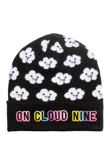Hat with appliqué - Black/Cloud -  | H&M