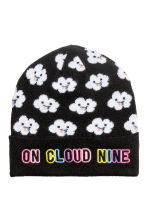 Hat with appliqué - Black/Cloud - Ladies | H&M IE 1