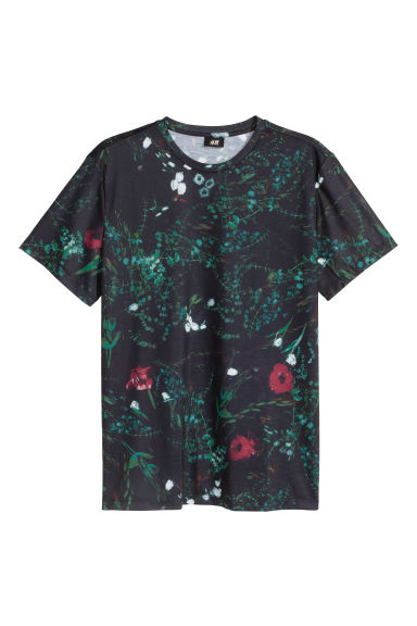 Airy jersey T-shirt - Black/Patterned - Men | H&M