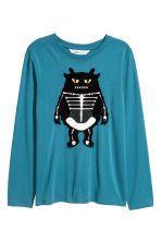 Printed jersey top - Turquoise/Monster - Kids | H&M CN 2