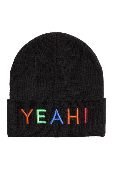 Knitted hat - Black/Yeah! - Kids | H&M