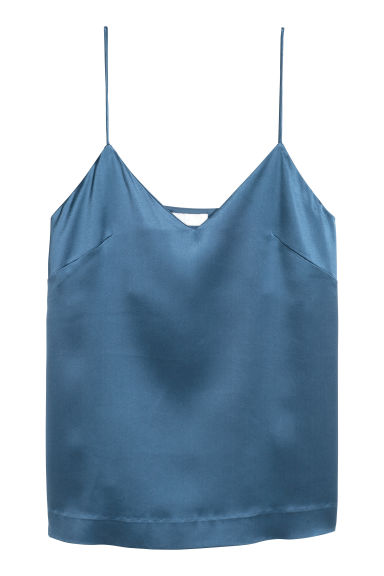 Silk strappy top - Blue -  | H&M
