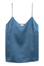 Silk strappy top - Blue -  | H&M CN 2