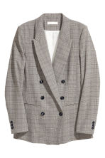 Double-breasted Jacket - Natural white/black checked - Ladies | H&M CA 2
