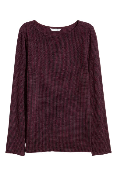 Textured-knit jumper - Burgundy - Ladies | H&M