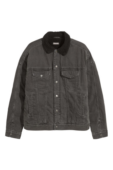 Pile-lined denim jacket - Black/Washed out - Men | H&M