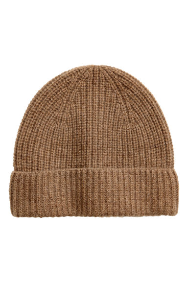 Ribbed cashmere hat - Dark beige -  | H&M IE