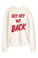 Knitted jumper with appliqué - White -  | H&M CN 2