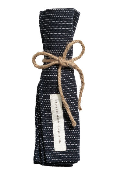 Jacquard-weave cotton napkin - Dark blue/Natural white - Home All | H&M CN 1