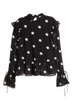 Flounced blouse - Black/White spotted - Ladies | H&M 2