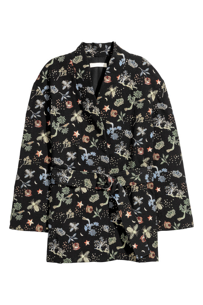 Embroidered jacket - Black/Floral - Ladies | H&M 1