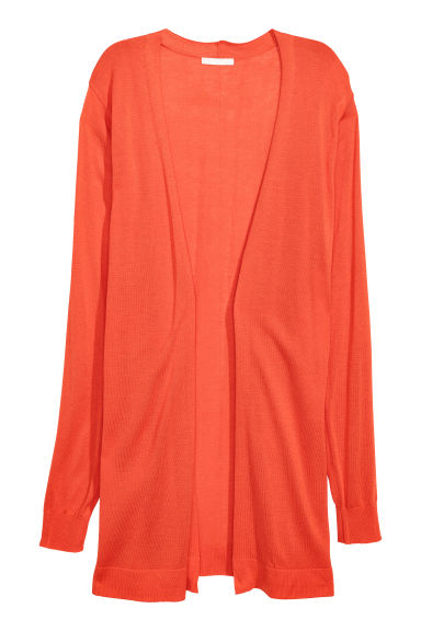 Fine-knit cardigan - Neon orange -  | H&M